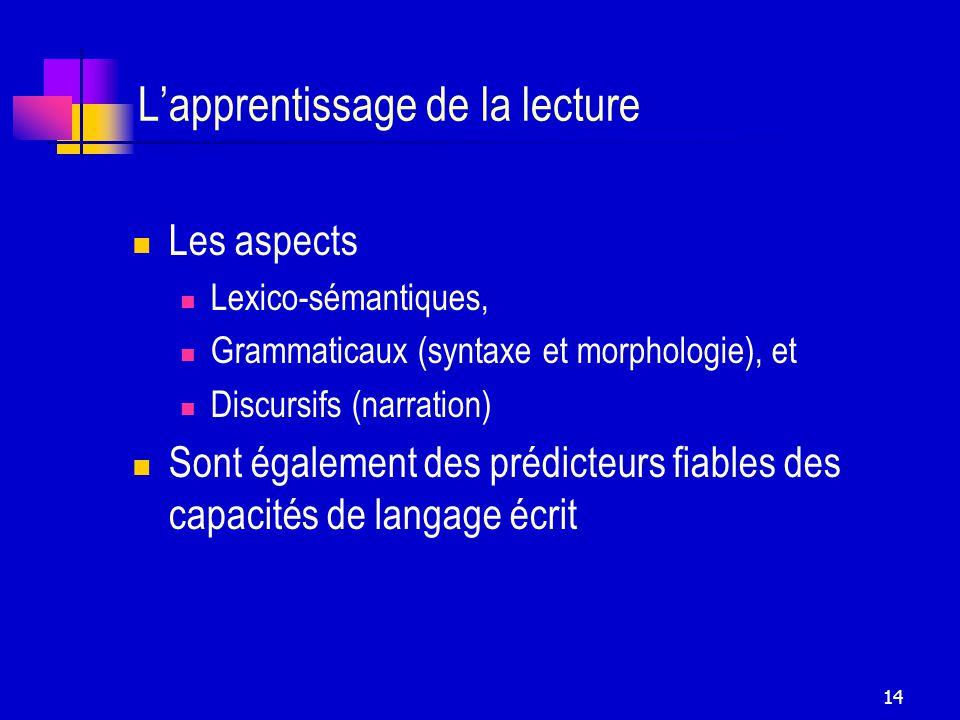 14 Lapprentissage de la lecture Les aspects Lexico-sémantiques, Grammaticaux (syntaxe et morphologie), et Discursifs (narration) Sont également des prédicteurs fiables des capacités de langage écrit