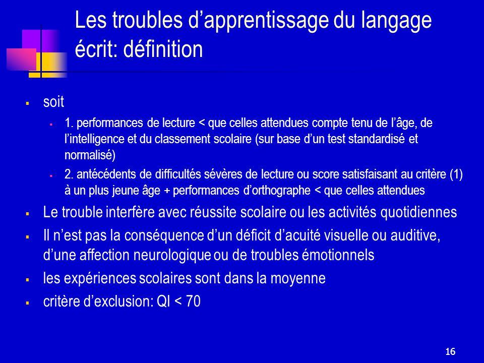 16 Les troubles dapprentissage du langage écrit: définition soit 1.