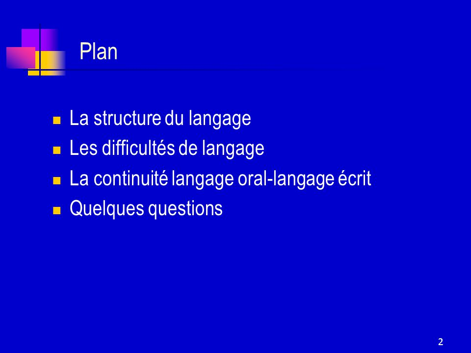 2 Plan La structure du langage Les difficultés de langage La continuité langage oral-langage écrit Quelques questions