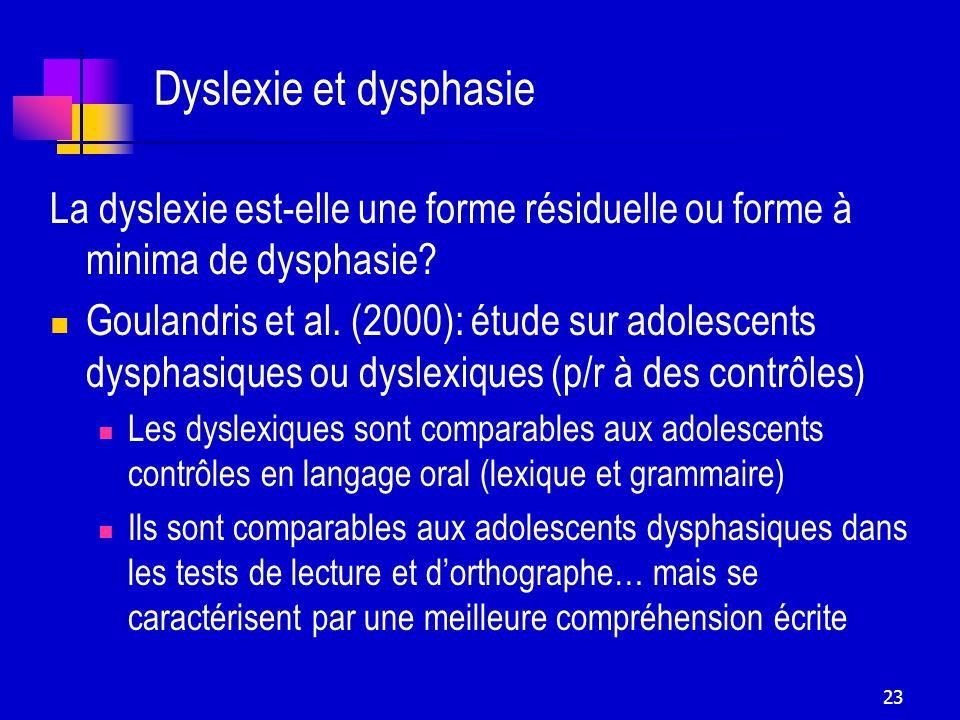23 Dyslexie et dysphasie La dyslexie est-elle une forme résiduelle ou forme à minima de dysphasie.
