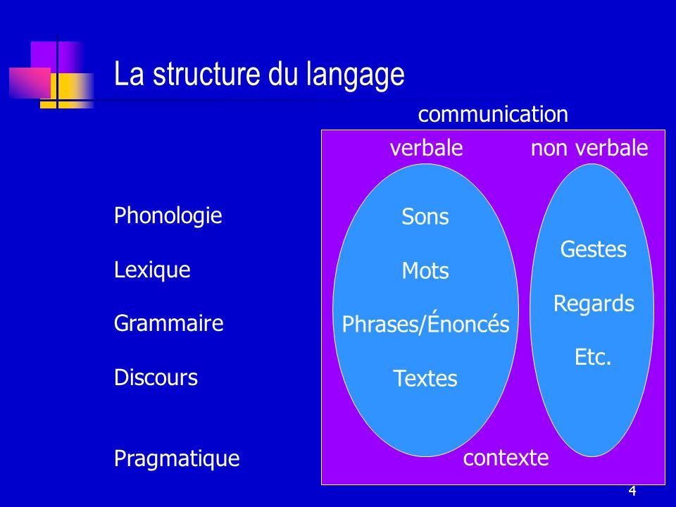 4 La structure du langage Phonologie Lexique Grammaire Discours Pragmatique contexte Sons Mots Phrases/Énoncés Textes Gestes Regards Etc.