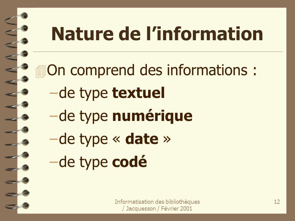 Informatisation des bibliothèques / Jacquesson / Février 2001 12 Nature de linformation 4 On comprend des informations : –de type textuel –de type num