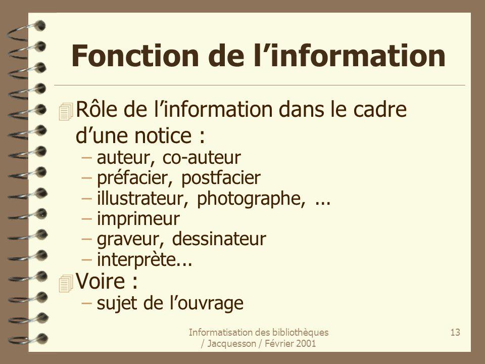 Informatisation des bibliothèques / Jacquesson / Février 2001 13 Fonction de linformation 4 Rôle de linformation dans le cadre dune notice : –auteur,