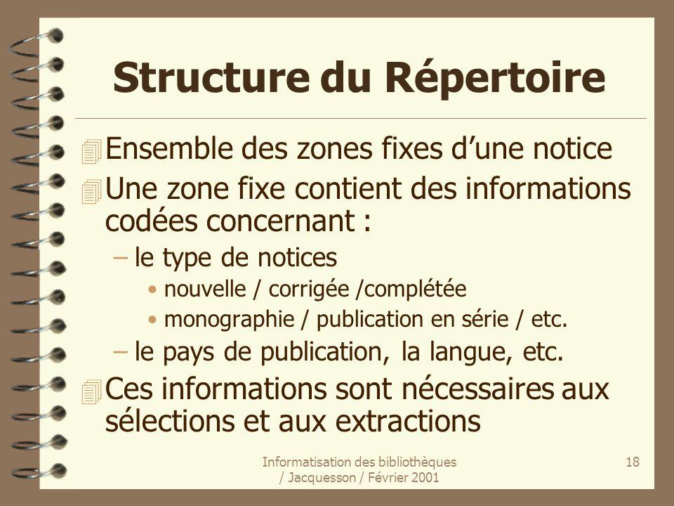 Informatisation des bibliothèques / Jacquesson / Février 2001 18 Structure du Répertoire 4 Ensemble des zones fixes dune notice 4 Une zone fixe contie