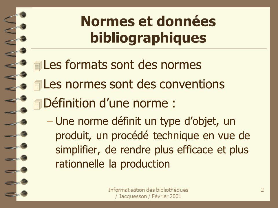 Informatisation des bibliothèques / Jacquesson / Février 2001 2 Normes et données bibliographiques 4 Les formats sont des normes 4 Les normes sont des