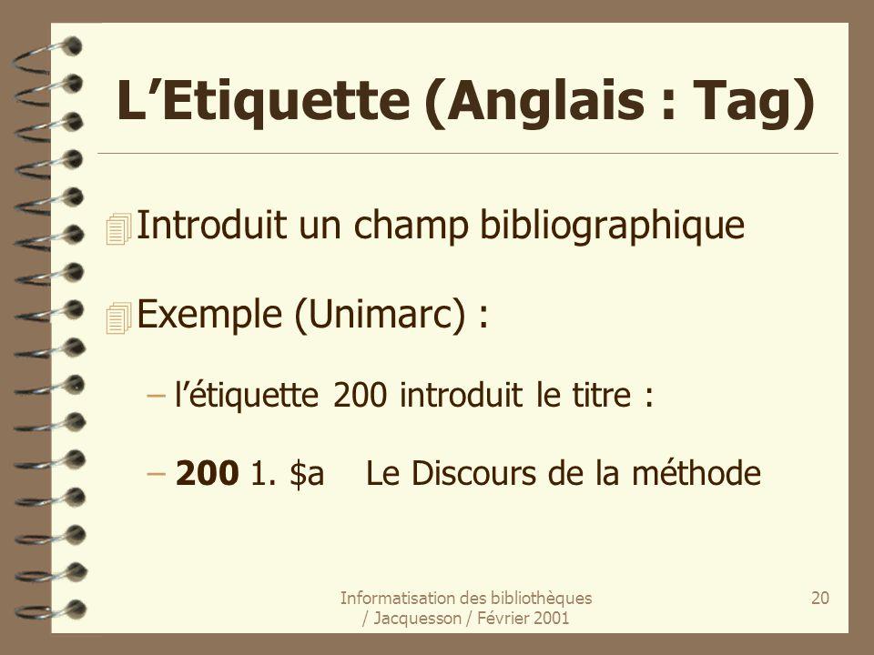 Informatisation des bibliothèques / Jacquesson / Février 2001 20 LEtiquette (Anglais : Tag) 4 Introduit un champ bibliographique 4 Exemple (Unimarc) :