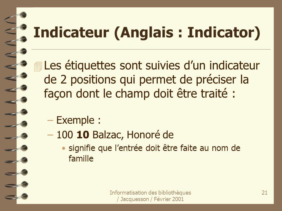 Informatisation des bibliothèques / Jacquesson / Février 2001 21 Indicateur (Anglais : Indicator) 4 Les étiquettes sont suivies dun indicateur de 2 po