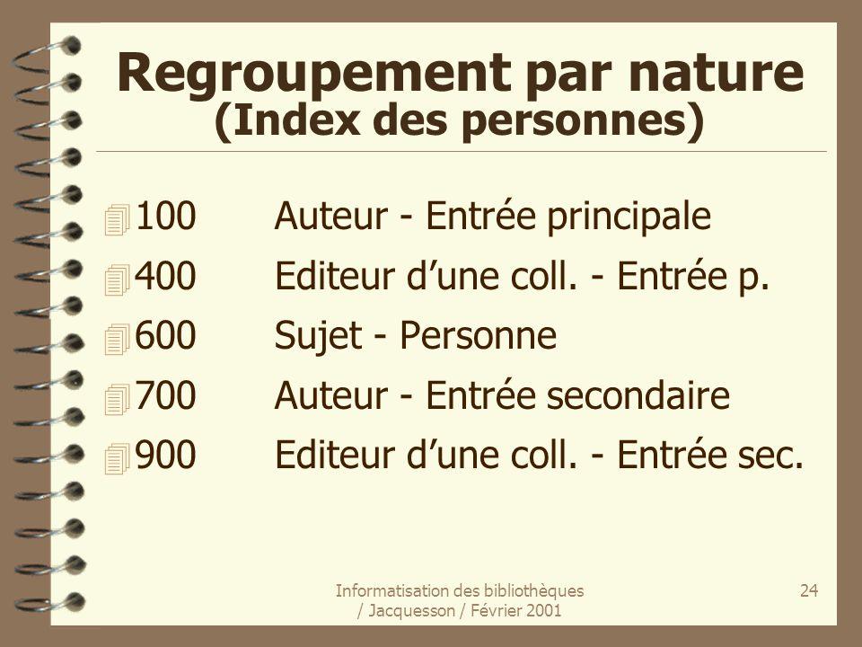 Informatisation des bibliothèques / Jacquesson / Février 2001 24 Regroupement par nature (Index des personnes) 4 100Auteur - Entrée principale 4 400Ed