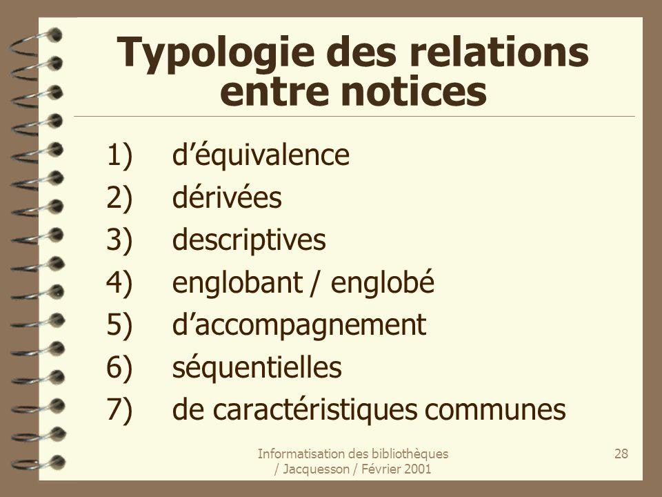 Informatisation des bibliothèques / Jacquesson / Février 2001 28 Typologie des relations entre notices 1)déquivalence 2)dérivées 3)descriptives 4)engl