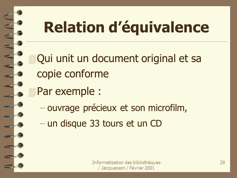 Informatisation des bibliothèques / Jacquesson / Février 2001 29 Relation déquivalence 4 Qui unit un document original et sa copie conforme 4 Par exem