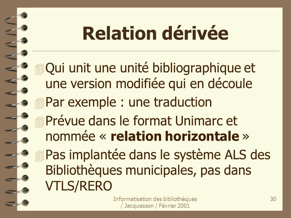Informatisation des bibliothèques / Jacquesson / Février 2001 30 Relation dérivée 4 Qui unit une unité bibliographique et une version modifiée qui en