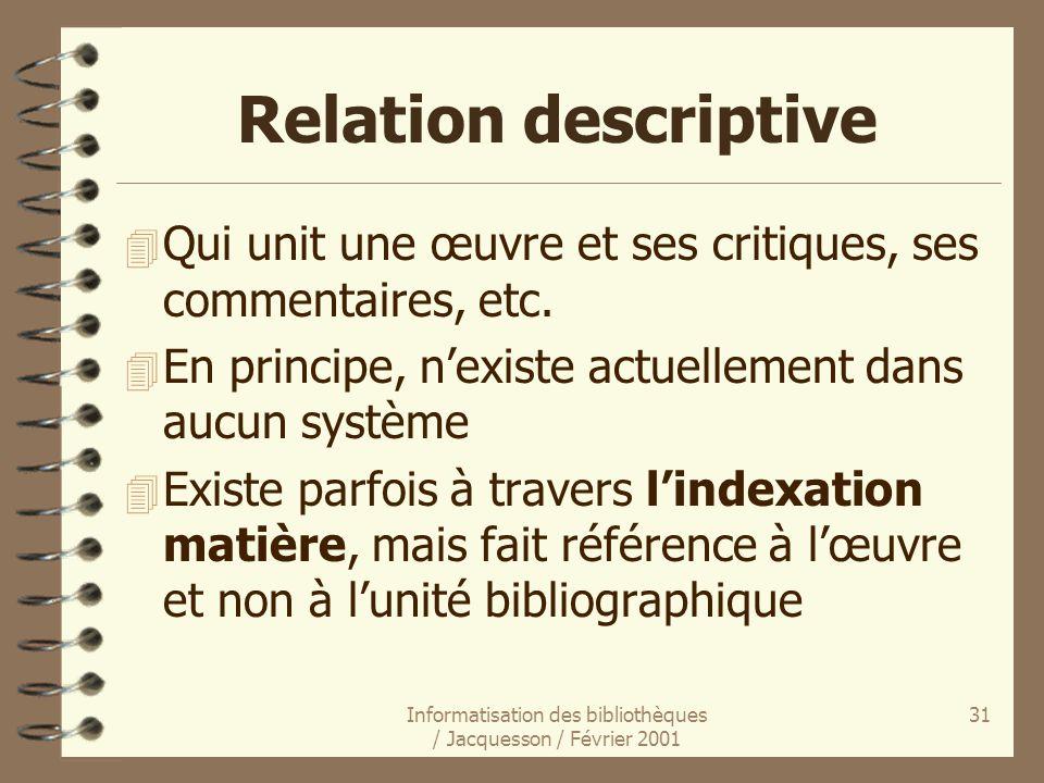 Informatisation des bibliothèques / Jacquesson / Février 2001 31 Relation descriptive 4 Qui unit une œuvre et ses critiques, ses commentaires, etc. 4