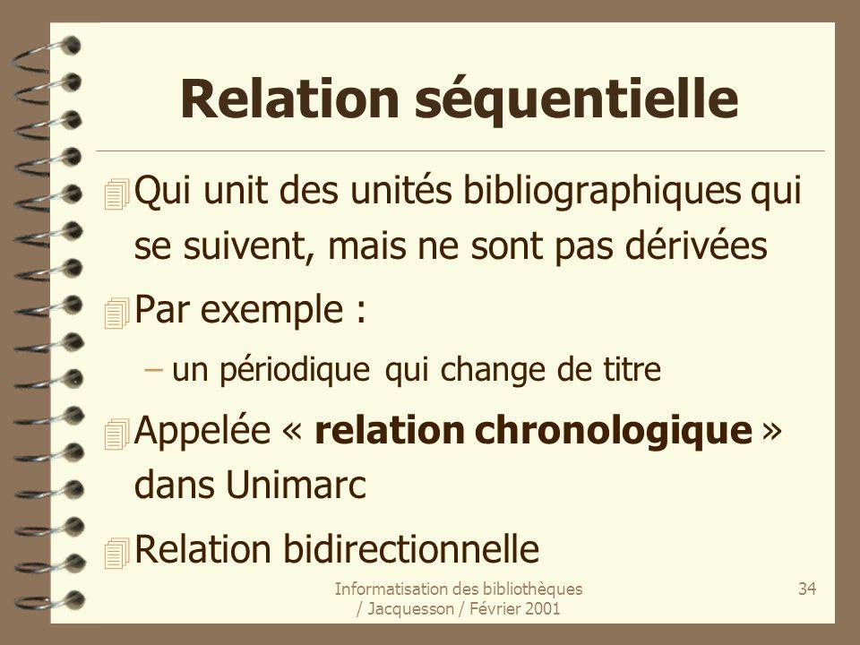 Informatisation des bibliothèques / Jacquesson / Février 2001 34 Relation séquentielle 4 Qui unit des unités bibliographiques qui se suivent, mais ne