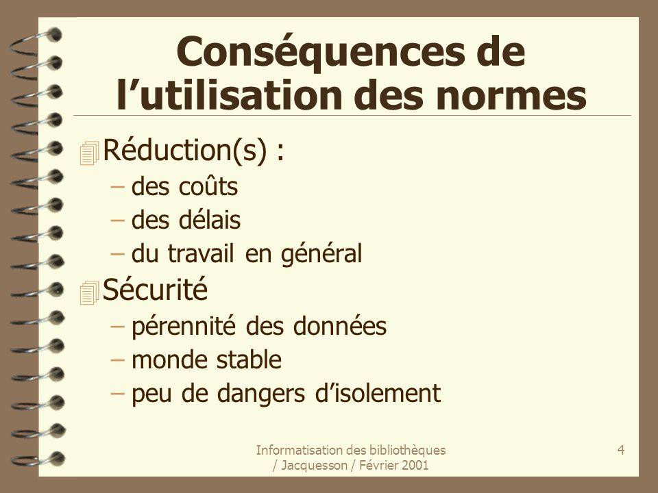 Informatisation des bibliothèques / Jacquesson / Février 2001 4 Conséquences de lutilisation des normes 4 Réduction(s) : –des coûts –des délais –du tr
