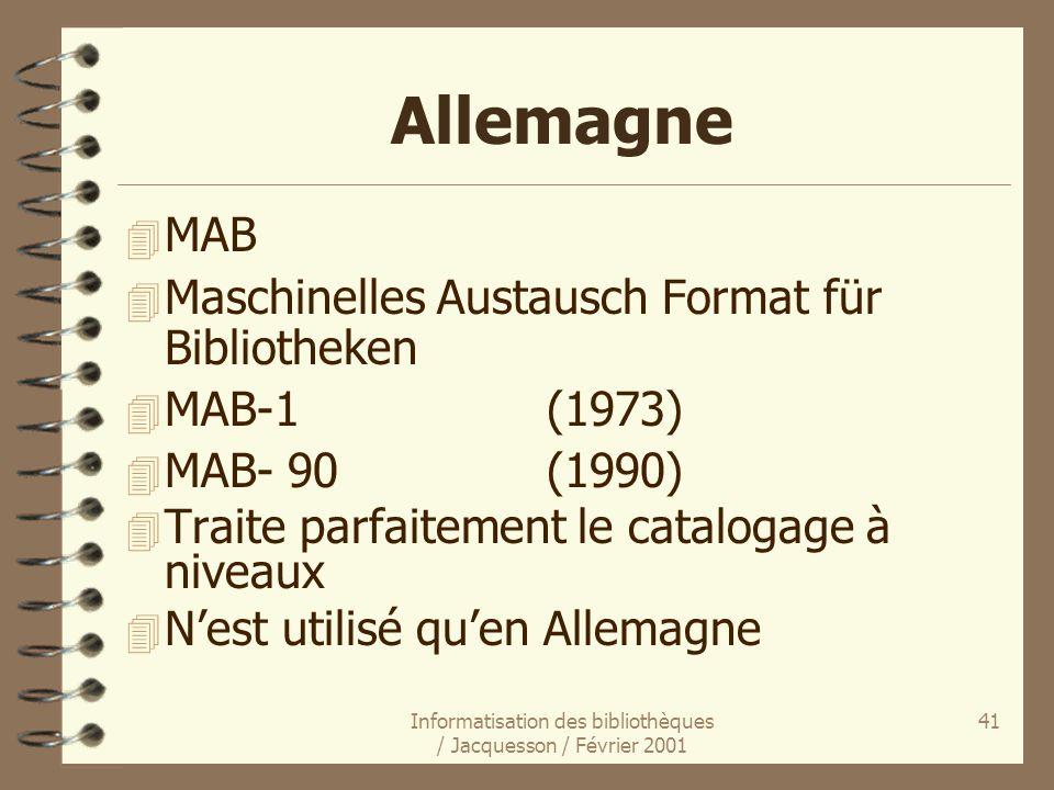 Informatisation des bibliothèques / Jacquesson / Février 2001 41 Allemagne 4 MAB 4 Maschinelles Austausch Format für Bibliotheken 4 MAB-1(1973) 4 MAB-