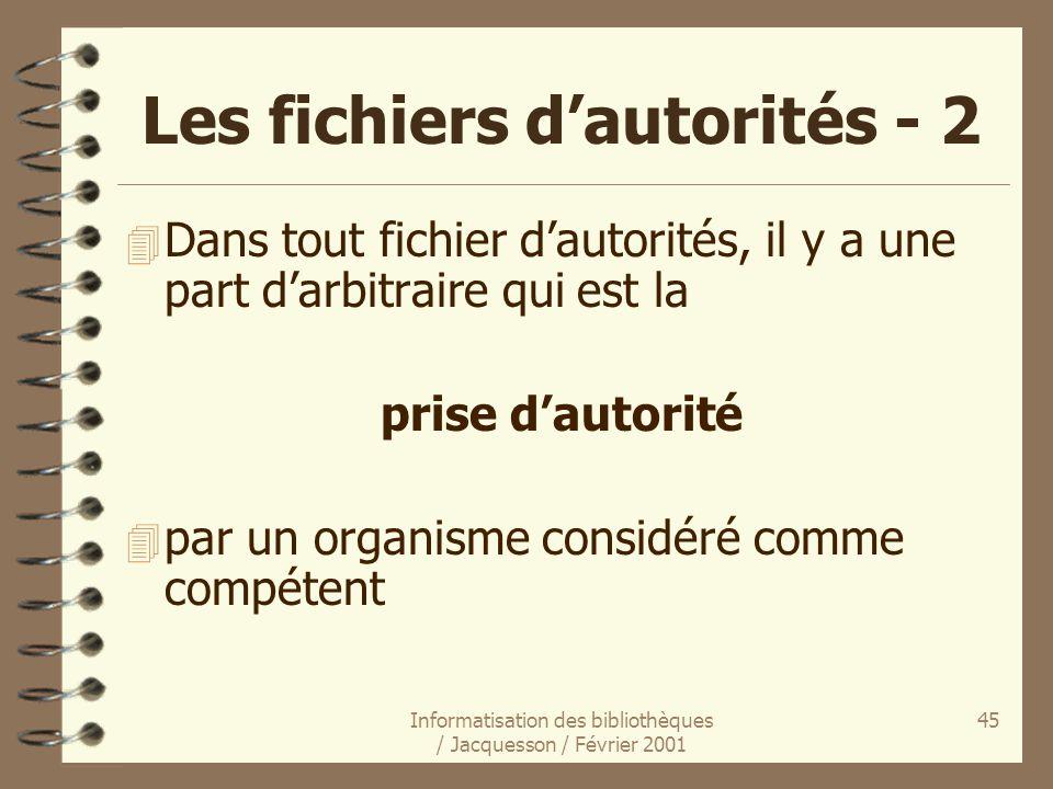 Informatisation des bibliothèques / Jacquesson / Février 2001 45 Les fichiers dautorités - 2 4 Dans tout fichier dautorités, il y a une part darbitrai