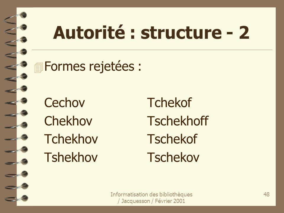 Informatisation des bibliothèques / Jacquesson / Février 2001 48 Autorité : structure - 2 4 Formes rejetées : CechovTchekof ChekhovTschekhoff Tchekhov