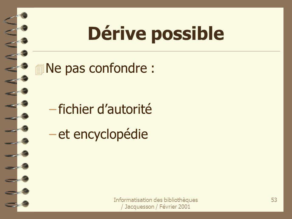 Informatisation des bibliothèques / Jacquesson / Février 2001 53 4 Ne pas confondre : –fichier dautorité –et encyclopédie Dérive possible