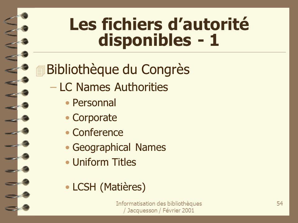 Informatisation des bibliothèques / Jacquesson / Février 2001 54 Les fichiers dautorité disponibles - 1 4 Bibliothèque du Congrès –LC Names Authoritie