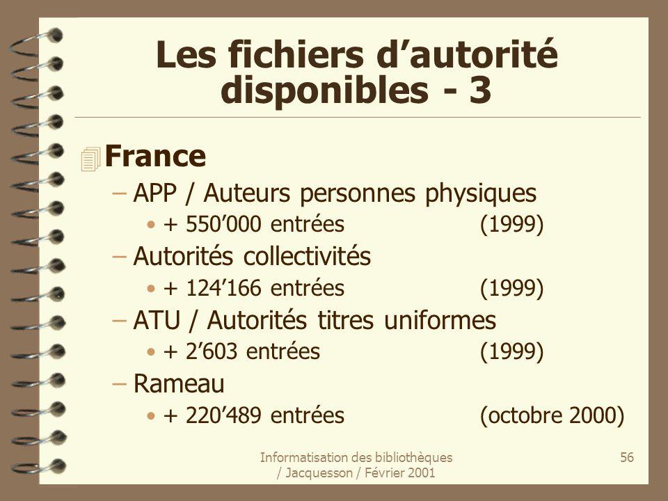 Informatisation des bibliothèques / Jacquesson / Février 2001 56 4 France –APP / Auteurs personnes physiques + 550000 entrées (1999) –Autorités collec
