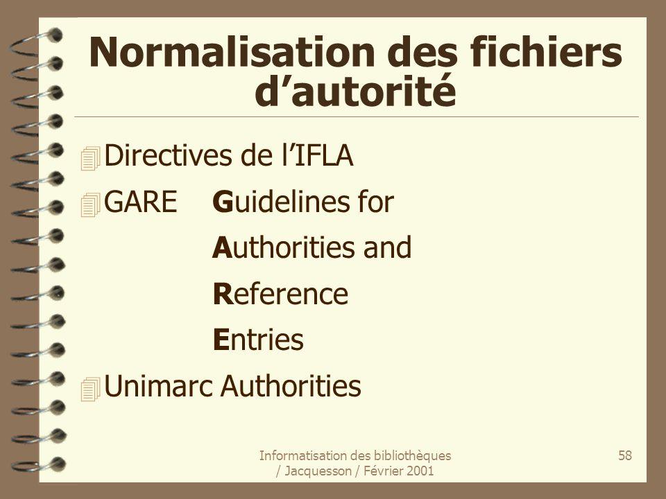 Informatisation des bibliothèques / Jacquesson / Février 2001 58 Normalisation des fichiers dautorité 4 Directives de lIFLA 4 GAREGuidelines for Autho