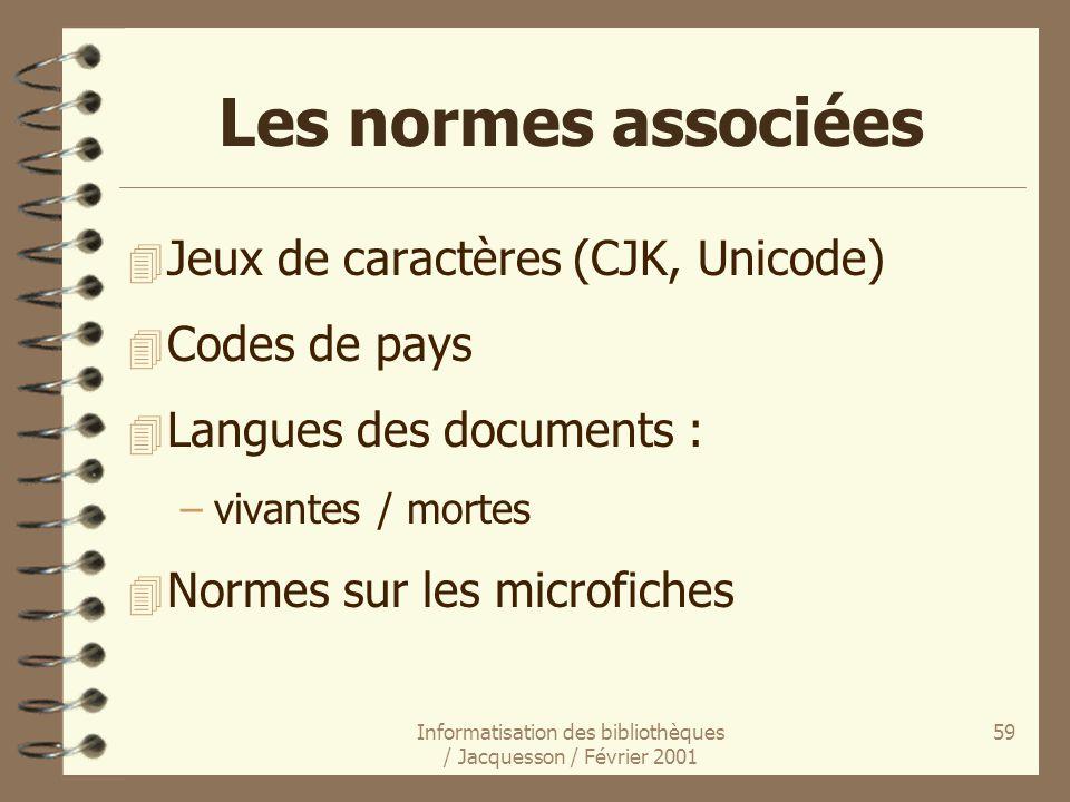 Informatisation des bibliothèques / Jacquesson / Février 2001 59 Les normes associées 4 Jeux de caractères (CJK, Unicode) 4 Codes de pays 4 Langues de