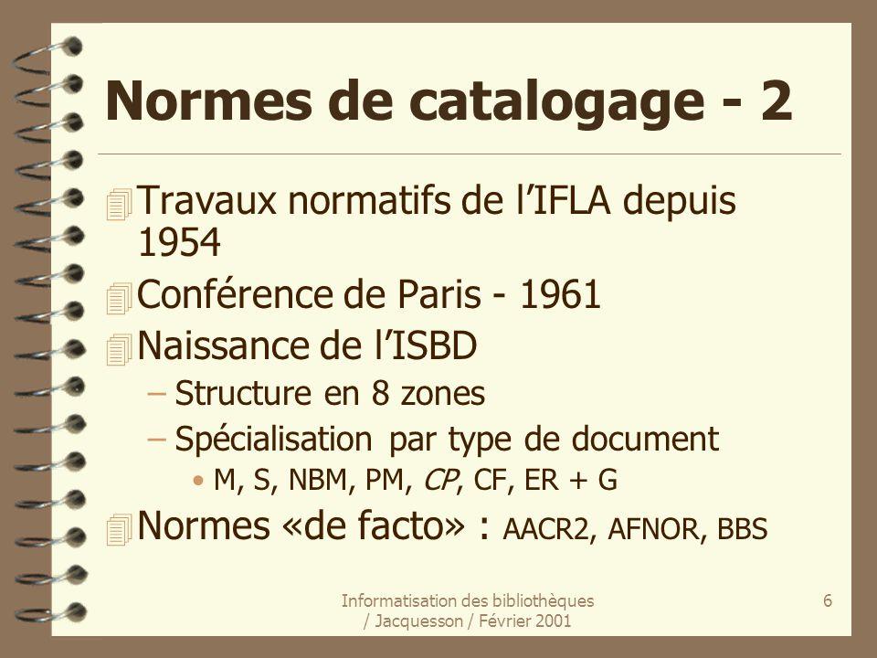 Informatisation des bibliothèques / Jacquesson / Février 2001 6 Normes de catalogage - 2 4 Travaux normatifs de lIFLA depuis 1954 4 Conférence de Pari