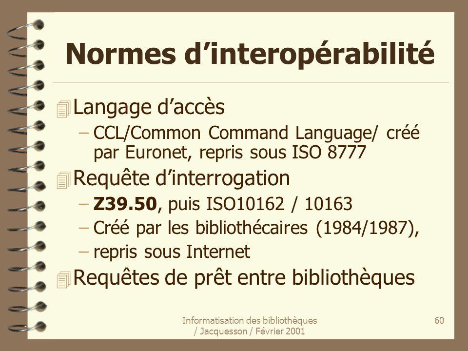 Informatisation des bibliothèques / Jacquesson / Février 2001 60 Normes dinteropérabilité 4 Langage daccès –CCL/Common Command Language/ créé par Euro