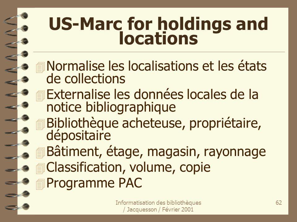 Informatisation des bibliothèques / Jacquesson / Février 2001 62 US-Marc for holdings and locations 4 Normalise les localisations et les états de coll
