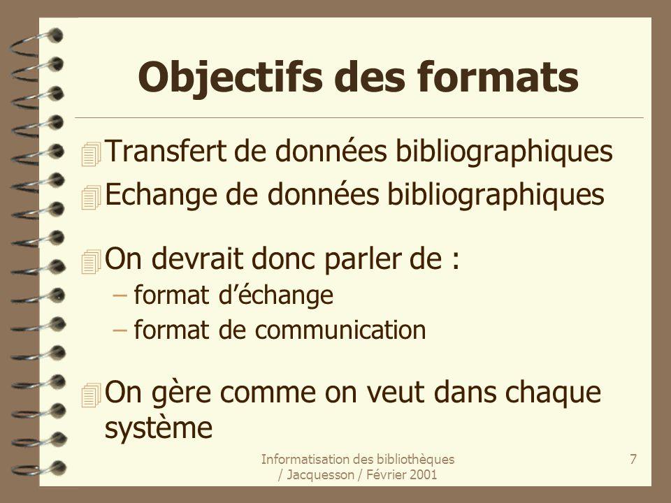 Informatisation des bibliothèques / Jacquesson / Février 2001 7 Objectifs des formats 4 Transfert de données bibliographiques 4 Echange de données bib