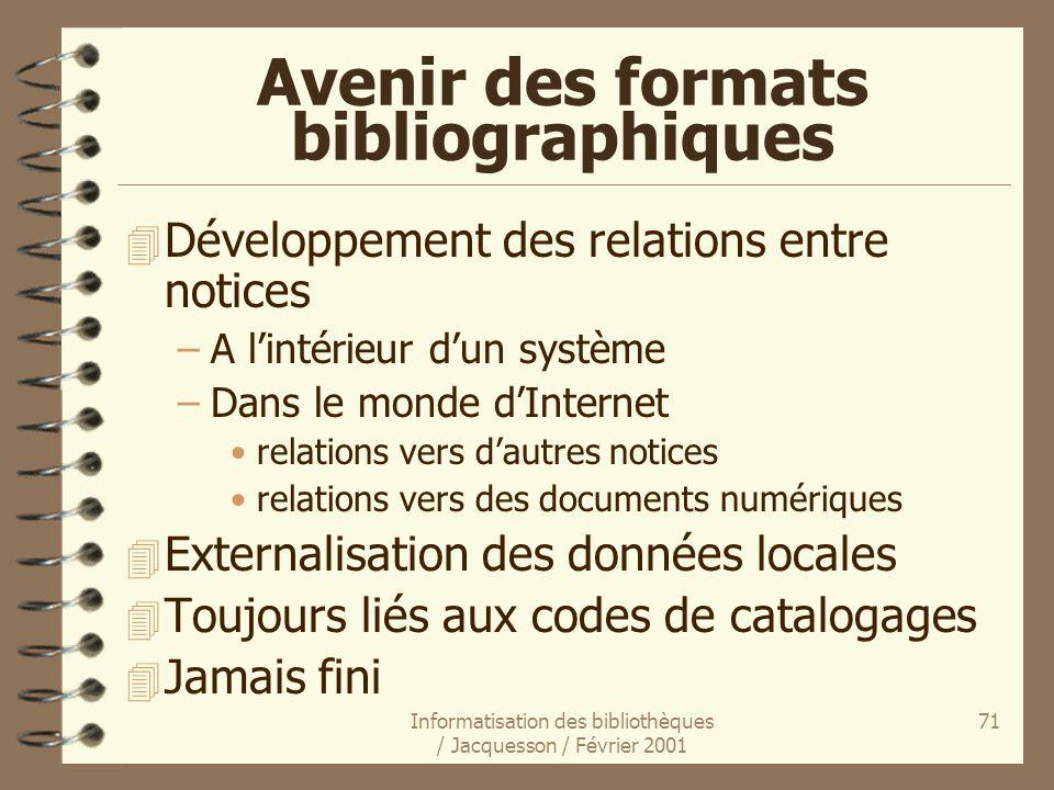 Informatisation des bibliothèques / Jacquesson / Février 2001 71 Avenir des formats bibliographiques 4 Développement des relations entre notices –A li