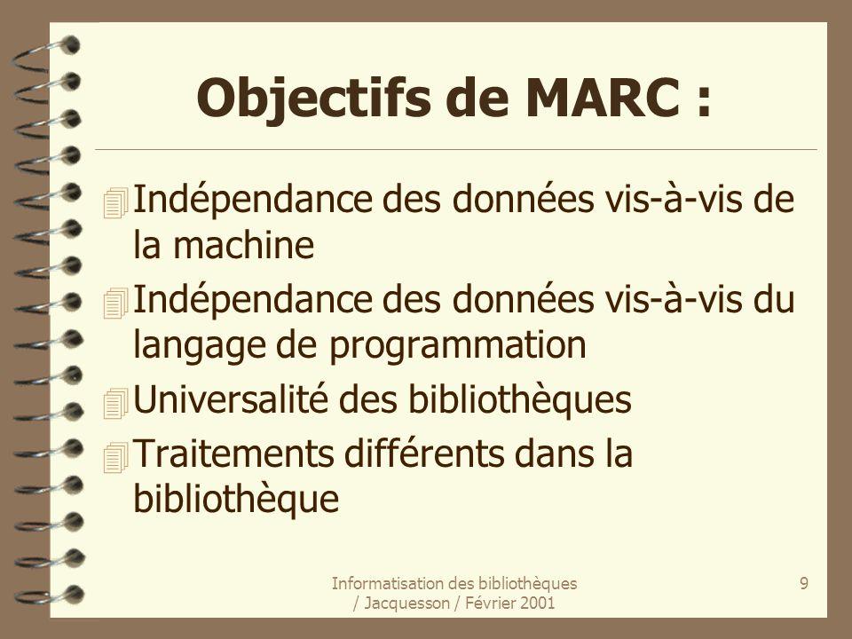 Informatisation des bibliothèques / Jacquesson / Février 2001 9 Objectifs de MARC : 4 Indépendance des données vis-à-vis de la machine 4 Indépendance