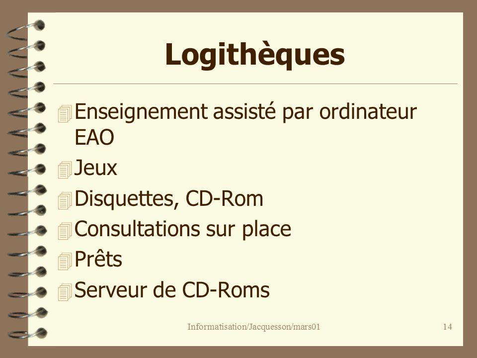 Informatisation/Jacquesson/mars0114 Logithèques 4 Enseignement assisté par ordinateur EAO 4 Jeux 4 Disquettes, CD-Rom 4 Consultations sur place 4 Prêts 4 Serveur de CD-Roms