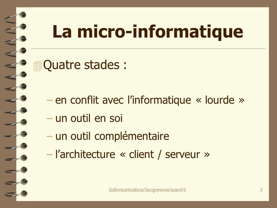 Informatisation/Jacquesson/mars013 La micro-informatique 4 Quatre stades : –en conflit avec linformatique « lourde » –un outil en soi –un outil complémentaire –larchitecture « client / serveur »