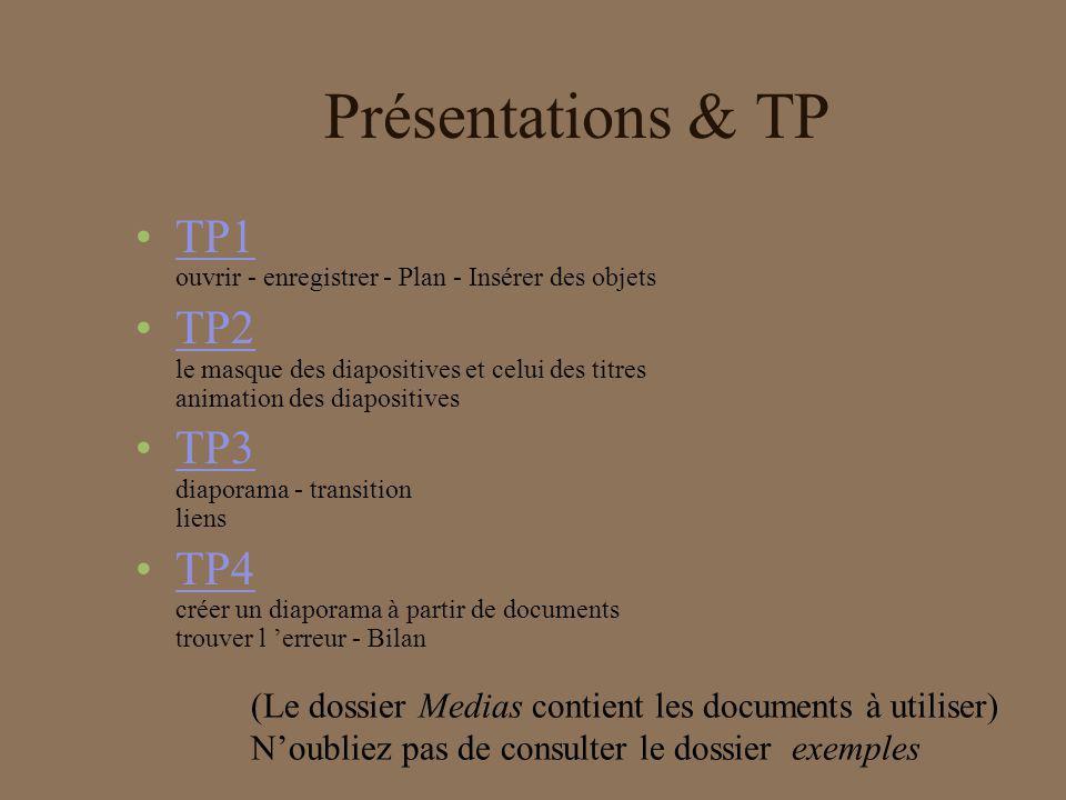 Les erreurs à corriger Le dossier trouver_erreur contient des présentations avec des erreurs types.