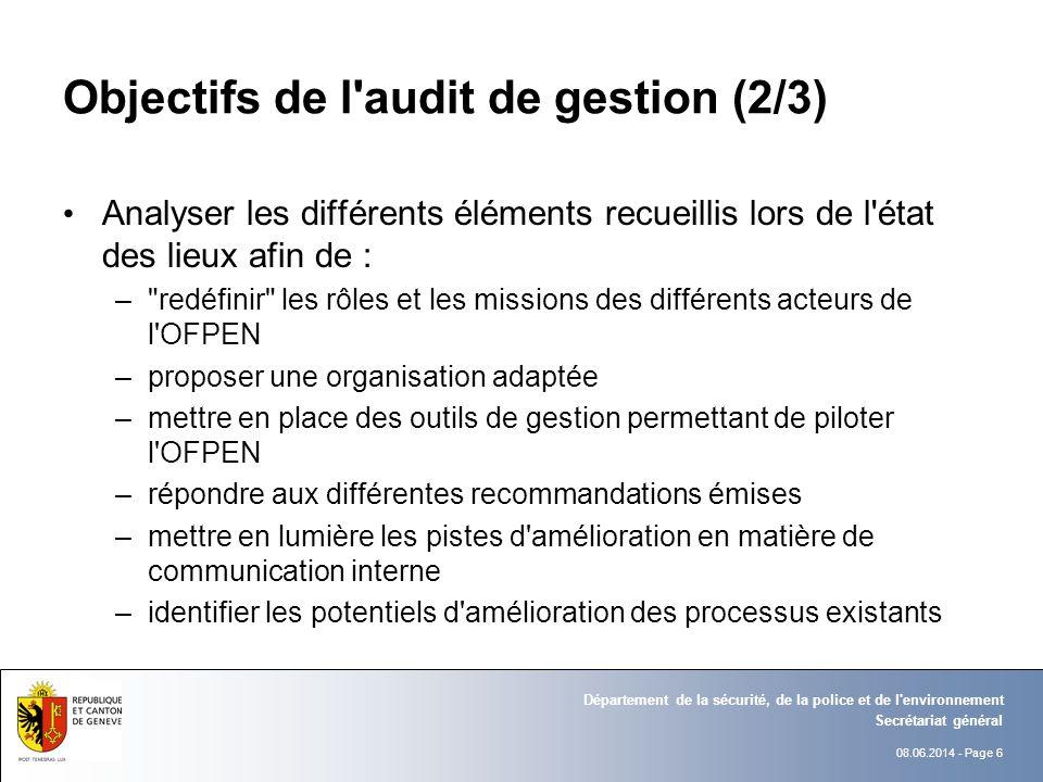 08.06.2014 - Page 6 Secrétariat général Département de la sécurité, de la police et de l'environnement Objectifs de l'audit de gestion (2/3) Analyser