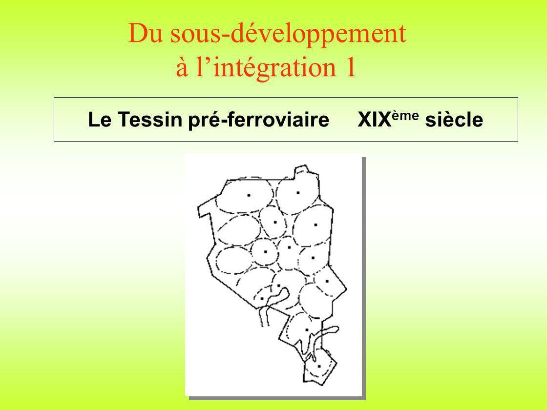 Du sous-développement à lintégration 1 Le Tessin pré-ferroviaire XIX ème siècle
