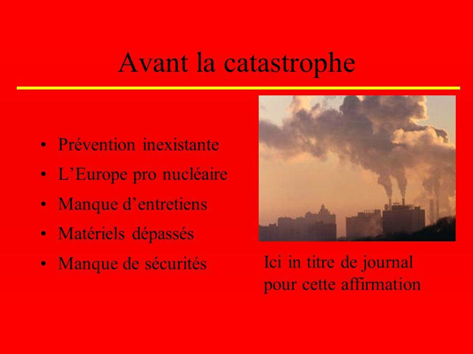 Pendant la catastrophe 25 avril 1986 Le réacteur 4 explosent Début des premiers morts Nuage radioactif Réactions et aide internationales, en retard et faible Ici in titre de journal pour cette affirmation