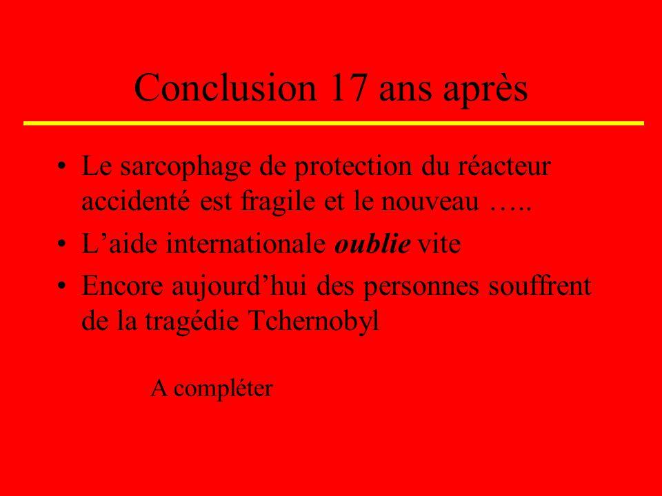 Conclusion 17 ans après Le sarcophage de protection du réacteur accidenté est fragile et le nouveau …..