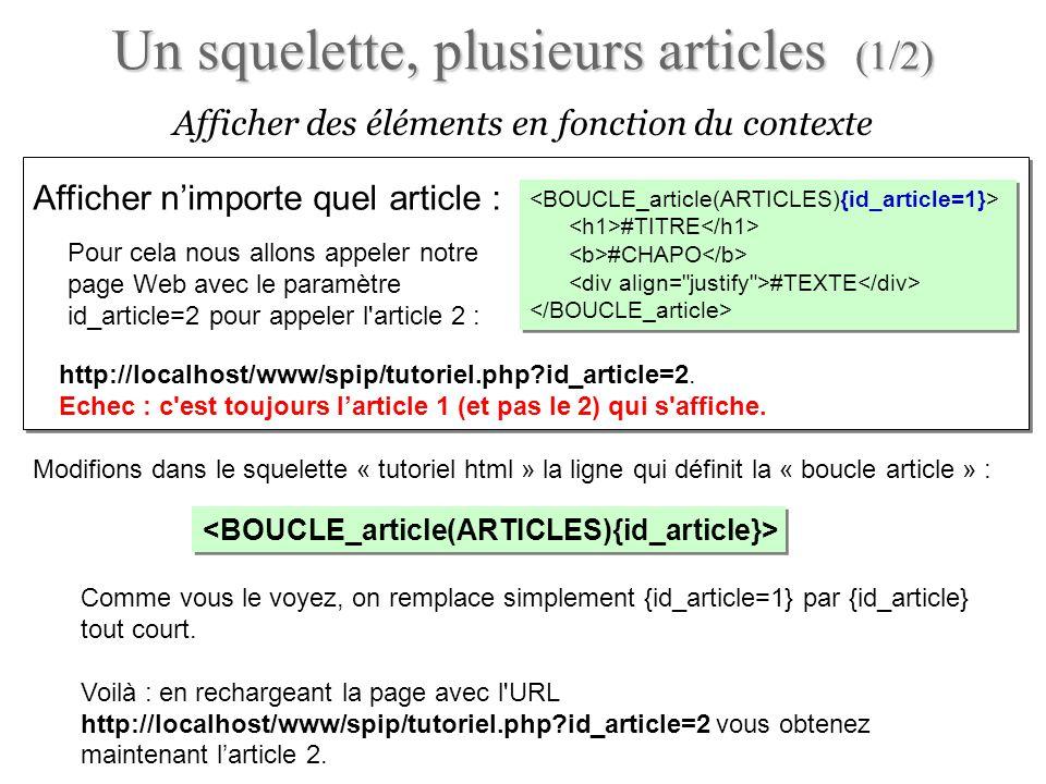 Comme vous le voyez, on remplace simplement {id_article=1} par {id_article} tout court. Voilà : en rechargeant la page avec l'URL http://localhost/www