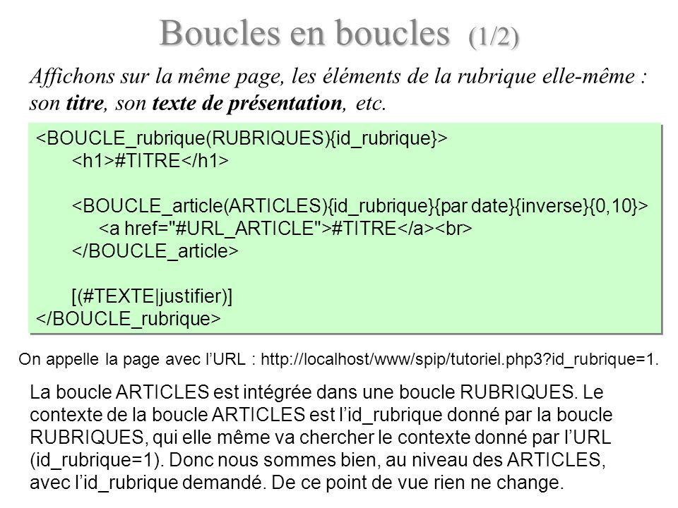 Boucles en boucles (1/2) Affichons sur la même page, les éléments de la rubrique elle-même : son titre, son texte de présentation, etc. #TITRE #TITRE