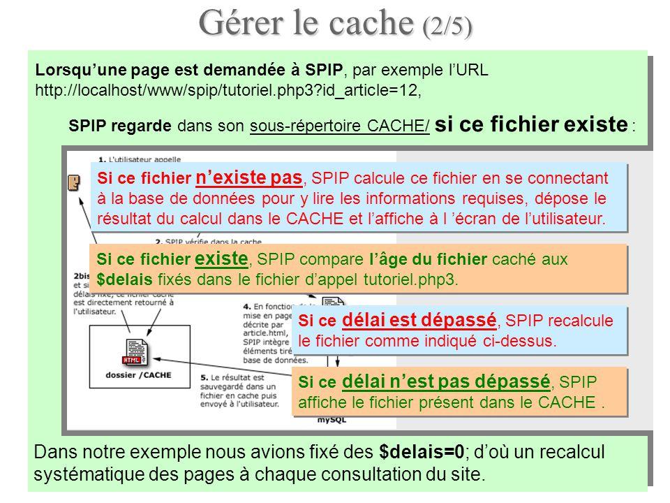 Gérer le cache (2/5) Lorsquune page est demandée à SPIP, par exemple lURL http://localhost/www/spip/tutoriel.php3?id_article=12, Dans notre exemple no