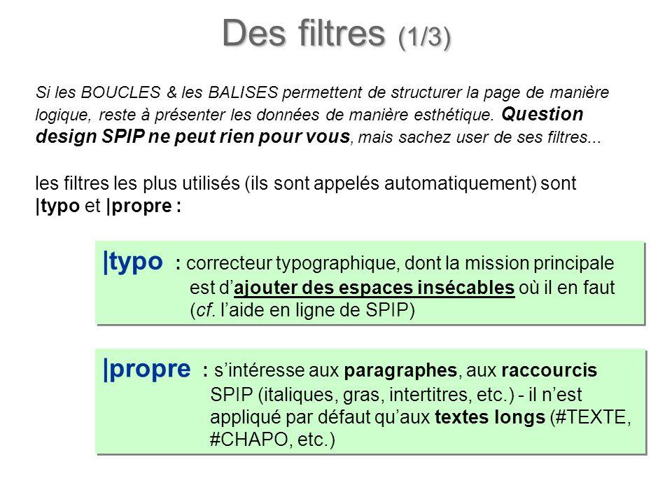 Des filtres (1/3) Si les BOUCLES & les BALISES permettent de structurer la page de manière logique, reste à présenter les données de manière esthétiqu