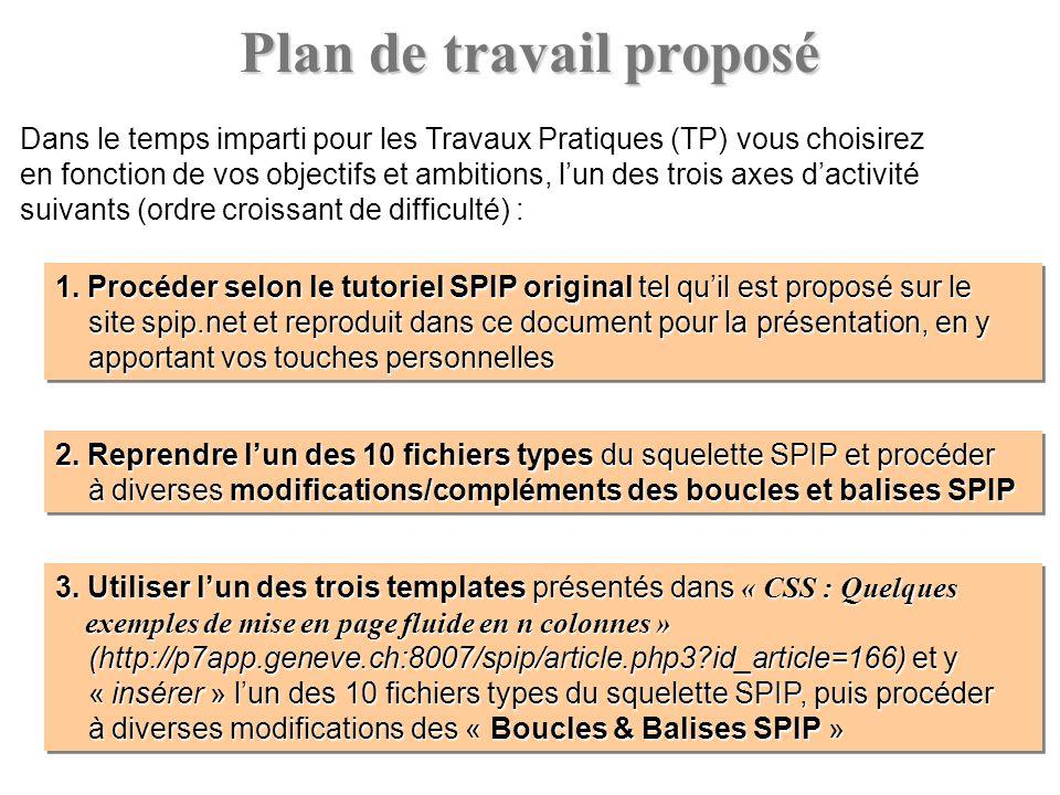 Plan de travail proposé Dans le temps imparti pour les Travaux Pratiques (TP) vous choisirez en fonction de vos objectifs et ambitions, lun des trois