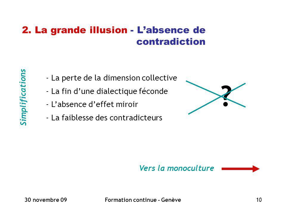30 novembre 09Formation continue - Genève10 2. La grande illusion - Labsence de contradiction Simplifications Vers la monoculture - La perte de la dim