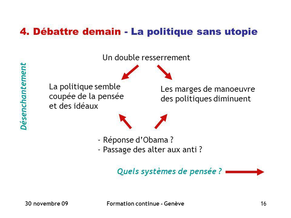 30 novembre 09Formation continue - Genève16 4. Débattre demain - La politique sans utopie Désenchantement Quels systèmes de pensée ? Un double resserr