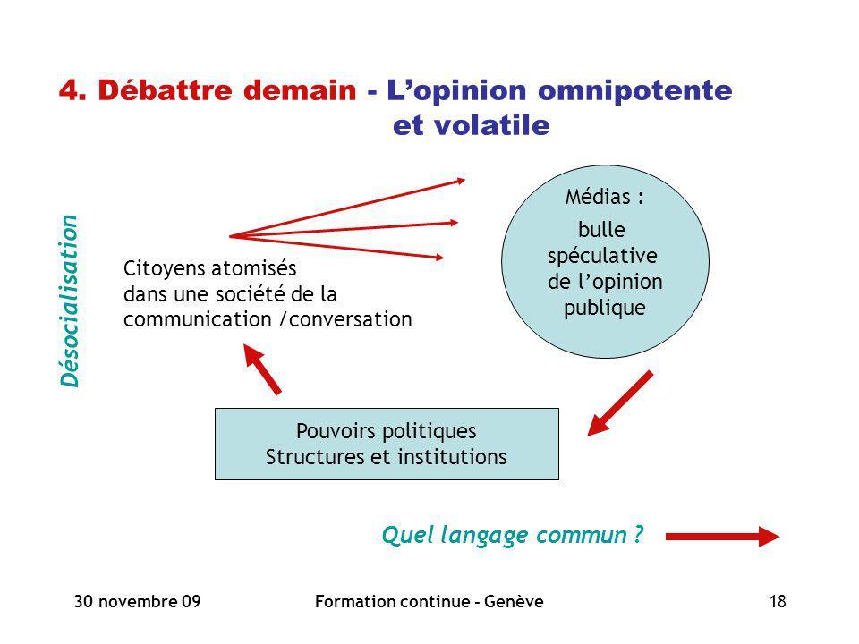 30 novembre 09Formation continue - Genève18 4. Débattre demain - Lopinion omnipotente et volatile Désocialisation Quel langage commun ? Médias : bulle