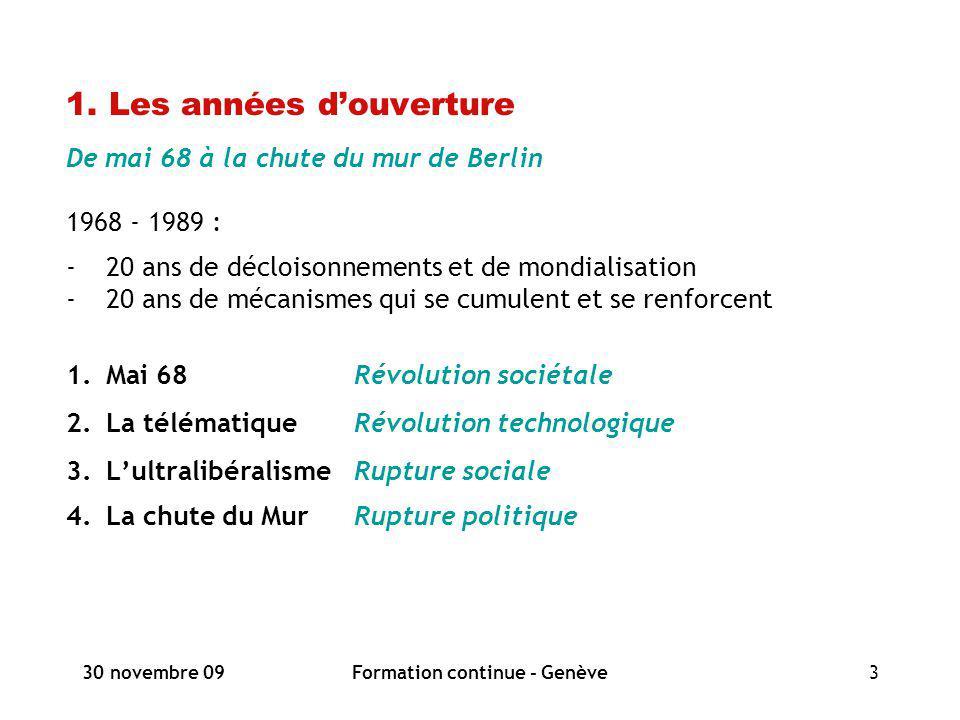 30 novembre 09Formation continue - Genève3 1. Les années douverture De mai 68 à la chute du mur de Berlin 1968 - 1989 : -20 ans de décloisonnements et