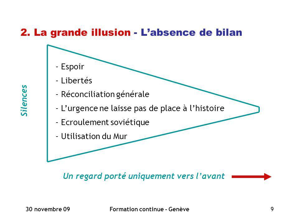 30 novembre 09Formation continue - Genève9 2. La grande illusion - Labsence de bilan Silences Un regard porté uniquement vers lavant - Espoir - Libert