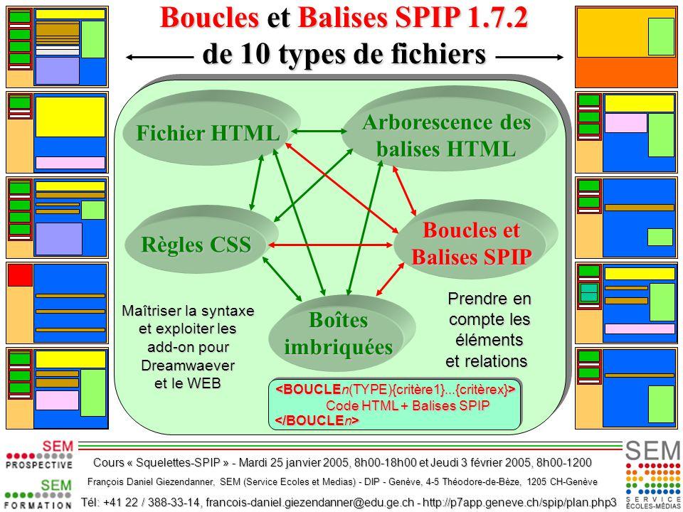CSS : Quelques exemples de mise en page fluide en n colonnes CSS : Quelques exemples de mise en page fluide en n colonnes CSSnColZdUfIs_V2.ppt Téléchargement : http://p7app.geneve.ch:8007/spip/article.php3?id_article=166 Les CSS dans SPIP 1.7.2 Les CSS dans SPIP 1.7.2 CssSpip172Article_v04.ppt http://p7app.geneve.ch/spip/ article.php3?id_article=169 Téléchargement : http://p7app.geneve.ch/spip/ article.php3?id_article=169 Avant de lire ce document et les codes sources y relatifs, il est profitable de consulter les documents et pages web suivants : Télécharger le présent document Powerpoint : « Boucles et Balises SPIP 1.7.2 de 10 types de fichiers » : http://p7app.geneve.ch:8007/spip/article.php3?id_article=176 Et basez-vous sur les manuel de référence présentés aux pages suivantes : Les Boucles et Balises SPIP 1.7.2 » Téléchargement : http://p7app.geneve.ch:8007/spip/article.php3?id_article=172